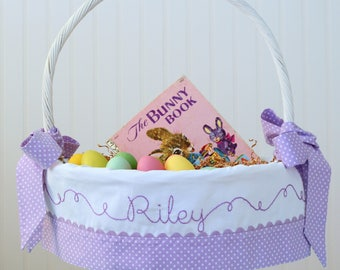 Purple Easter Basket, Personalized Easter Basket, Girls Easter Basket, Polka Dot Easter Basket Liner fits PBK Baskets