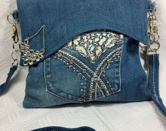 Faded Denim Bag with Lace and Rhinestone Accents