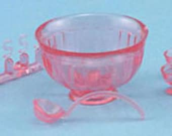 Dollhouse Miniature Punchbowl Set, Pink, 8 pc - New Old Stock #CB120P