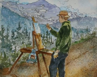 Painter Original Watercolor 8 inches by 10 inches Mountain Art Green Blue