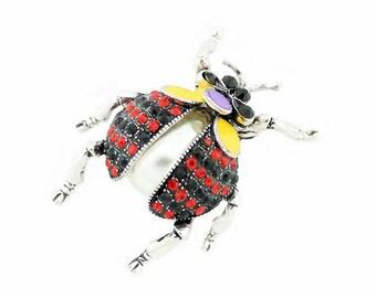 Ladybug Broach, Ladybug Brooch, Beetle Broach, Pearl Rhinestone Bug Insect Jewelry Component, Lady Bug DIY Craft Project Embellishment