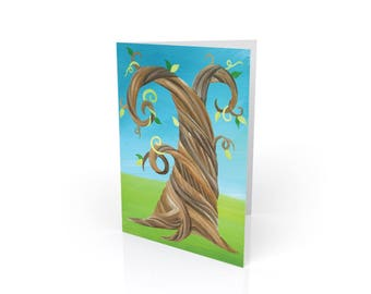 Twisted Spring - Whimsical Tree Blank Card