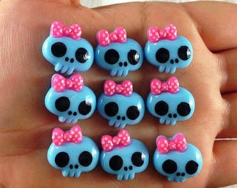 SET of 5 APPLIQUE cabochon blue and pink color paste skull