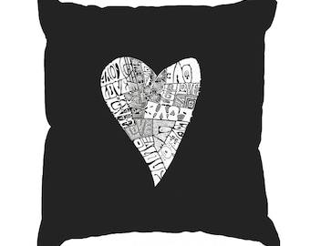 Throw Pillow Cover - Word Art - Lots of Love