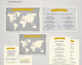 Destination wedding invitation World map Bilingual Invitation RSVP Two Countries One Love One Big Celebration greys yellow  DEPOSIT Payment
