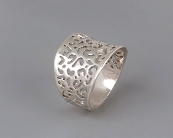 Silver Lace Ring, Chunky Silver Ring, Filigree Ring, Silver Ring, Sterling Silver Filigree Ring, Victorian Ring, Statement Ring, Wide Ring