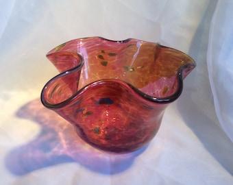 Reddish Glass Flutter Bowl with 23 Karat Gold.  Hand Blown Glass Art Bowl.
