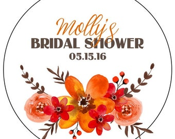 fall bridal shower stickers, watercolor flower bridal shower stickers, custom fall flower wedding labels, orange flower stickers