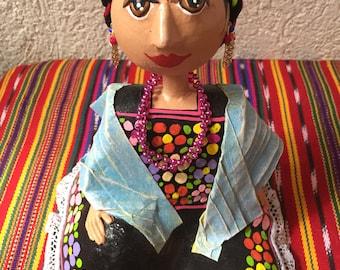FRIDA KHALO paper mache doll