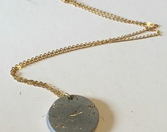 Concrete and Gold Disc Necklace// Concrete Necklace // Architectural Necklace // Brutalist Necklace