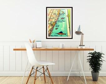 Delray Beach map print, Boca Raton retro florida map, Pompano, Boynton Beach house, vintage vacation, dad gift, brother gift, kids room map