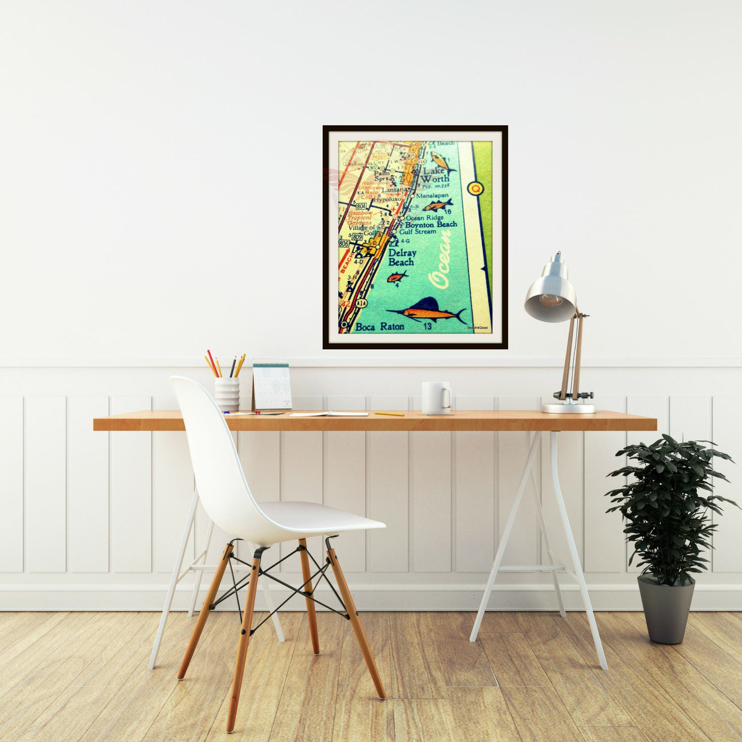 Delray beach map print boca raton retro florida map pompano request a custom order and have something made just for you negle Gallery