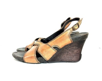 Leather Wedge Sandals 6 - Platform Wooden Mules 6 - Boho Mules 6