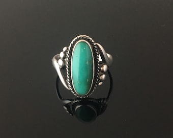 Vintage Bell Trading Post Sterling Silver & Turquoise Oblong Dots Southwestern Ring size 6.5