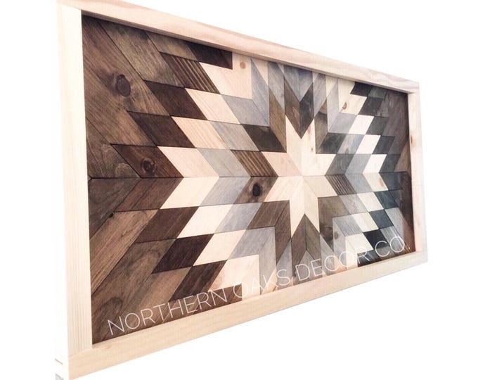 Featured listing image: Reclaimed Wood Wall Art - Sunburst in Gray - Dark Frame