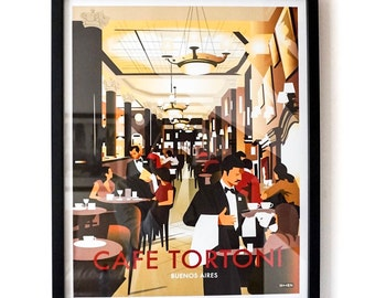 Cafe Tortoni, Buenos Aires – Vintage Travel Poster