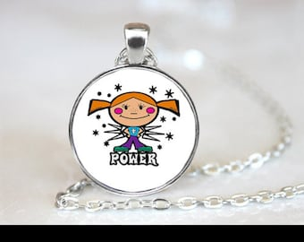 "Necklace ""Girl power"" cabochon glass chain pendant"