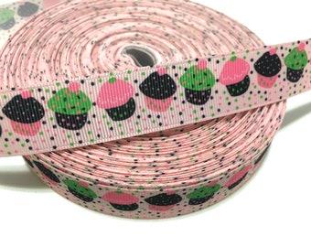 7/8 Cupcake Grosgrain Ribbon, 22mm Cupcake Ribbon, Birthday Cupcake Ribbon, Food Ribbon, Sweets Desserts Ribbon, Birthday Decor