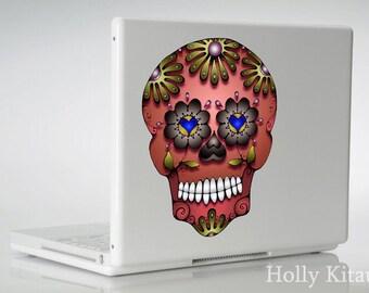 Copper Skull Decal - Dia de los Muertos  - Day of the Dead Vinyl Sugar Sticker