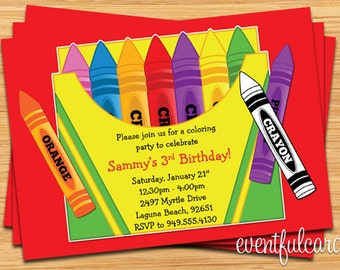 Crayon Birthday Party Invitation for Kids