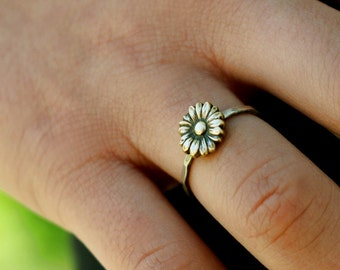 Sunflower Ring, Flower Stack Ring, Flower Ring, Silver Stack Ring, Sunflower Stack Ring, Boho Ring, Sterling Silver, Antiqued, Stack Ring