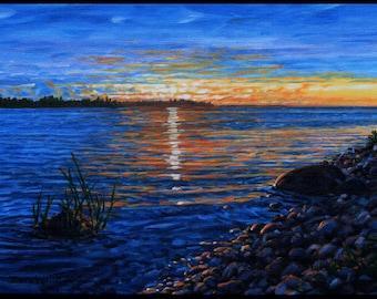 "Landscape Art Print - ""Sunrise Blue"", Limited Edition Giclee Print on Fine Art Paper of Great Lake shoreline, 7"" x 9"""