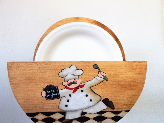 paper plate holder,wooden paper plate holder,chef kitchen decor,chef kitchen,storage for plates,plate storage,paper plates,chef decor