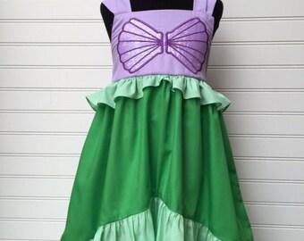Ariel inspired Little Mermaid appliqued Dress