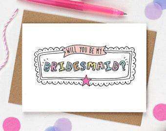 Will you be my Bridesmaid, Bridesmaid card, Bridesmaid Proposal, Funny asking Bridesmaid card, Bridesmaid invite, Colour pop wedding