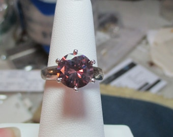 Ladies 2.73ct pink moissanite fine solitaire sterling ring