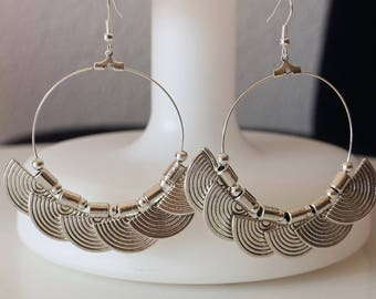 CREATION LIPIKI: Fan and balls large hoop earrings round ethnic beads silver metal