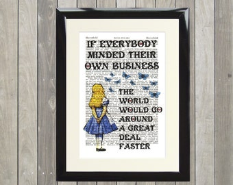 Dictionary Art Print Alice in Wonderland Own Business Framed Vintage Poster Picture Handmade Original Artwork Book Page