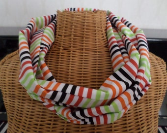 tube scarf with stripes on white background