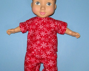 """Wonder Crew Outfit, Doll Clothes,  Red Snowflake Pajama Set, 14""""  or 15"""" Doll Clothes, Boy Doll Clothes, Will, James, Erik, Marco Christmas"""