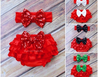 Red satin ruffle diaper cover, red baby bloomers, 4th of July, infant girl outfit, Baby girl clothes, 1st birthday, newborn baby headband