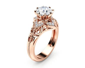 Ayala Jewelry Unique Engagement Ring Rose Gold by AyalaDiamonds