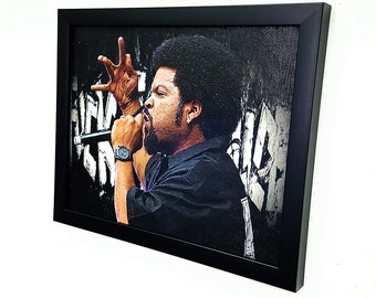 Ice Cube -F'ck the police -West Side  -Framed  Wall Art Giclee Canvas Paint,Painting, Poster,Print,Straight outta Compton
