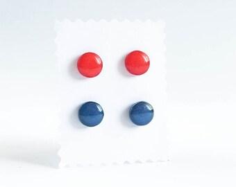 Red and blue stud earrings Set of nickel free earrings studs red stud earrings rot ohrstecker