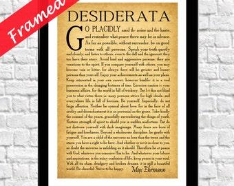 Framed Desiderata Poem Desiderata Poster Framed Graduation Poem Inspirational Poetry Literary Print Gift for Student Art Print
