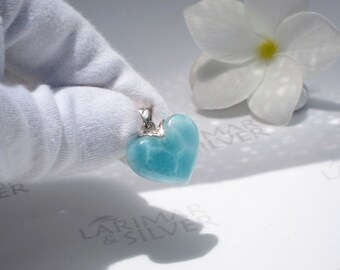 Larimar heart pendant by Larimarandsilver, The Beginning of Love - sea blue heart pendant 925 silver, turtleback, crystal heart, love gift