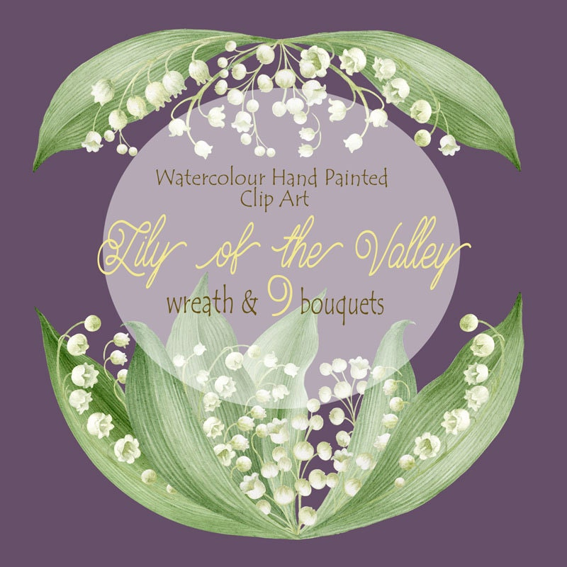 Flower Clipart Watercolour Hand Painted Lily of the valley