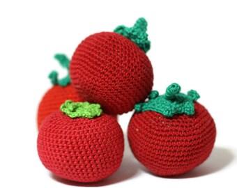 Crochet tomato Crochet vegetables Amigurumi Play Food Crochet Kids Toy Tomato Montessori Sensory toy Play Kitchen food Pretend Play food