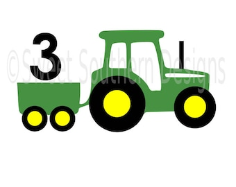 Tractor with wagon 3rd birthday layered design DXF SVG instant download design for cricut or silhouette