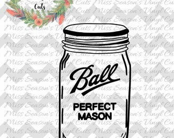 Mason Jar SVG File,Ball Mason Jars SVG File,Vector Clip Art for Commercial & Personal Use for Cricut,Cameo,Silhouette,Vinyl,Decal,htv