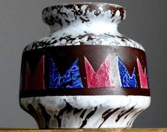 Vintage 60-70s VEB HALDENSLEBEN 3048 Vase East German Pottery GDR Fat Lava Era