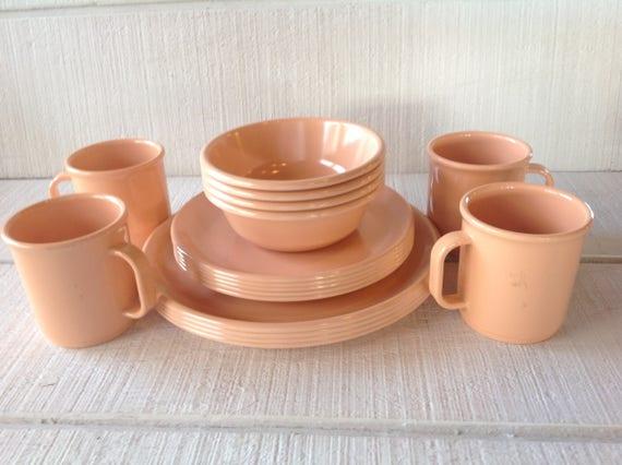 & Vintage Melmac Rubbermaid Pastel Peach dinner plates bowls