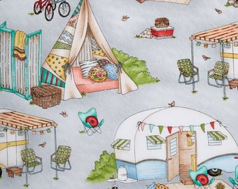 Maywood Studio Roam Sweet Home Fabric Glamour Trailer Camper on Grey Background