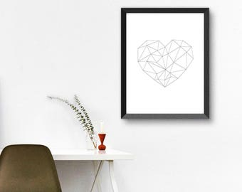 Geometric Heart Print, Heart Print, Minimalist Print, Black and White Print, Geometric Print, 18x24, 11x14 print, Scandinavian Art