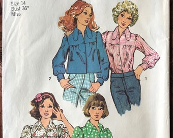 1970's Simplicity Pattern # 5583 - UNCUT Smock Tops in 2 Lenghts - Cropped, Dog Ear Collar, Dropped Yoke, Puffed Sleeves - Size 14, Bust 36""