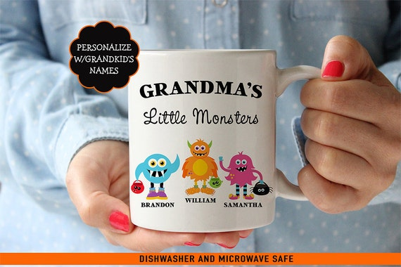 Coffee Mug Grandma's Little Monsters Halloween Coffee Mug - Halloween Coffee Mug - Personalize with Kids Names